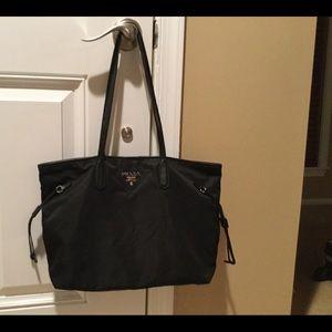 Prada black nylon shopping tote bag
